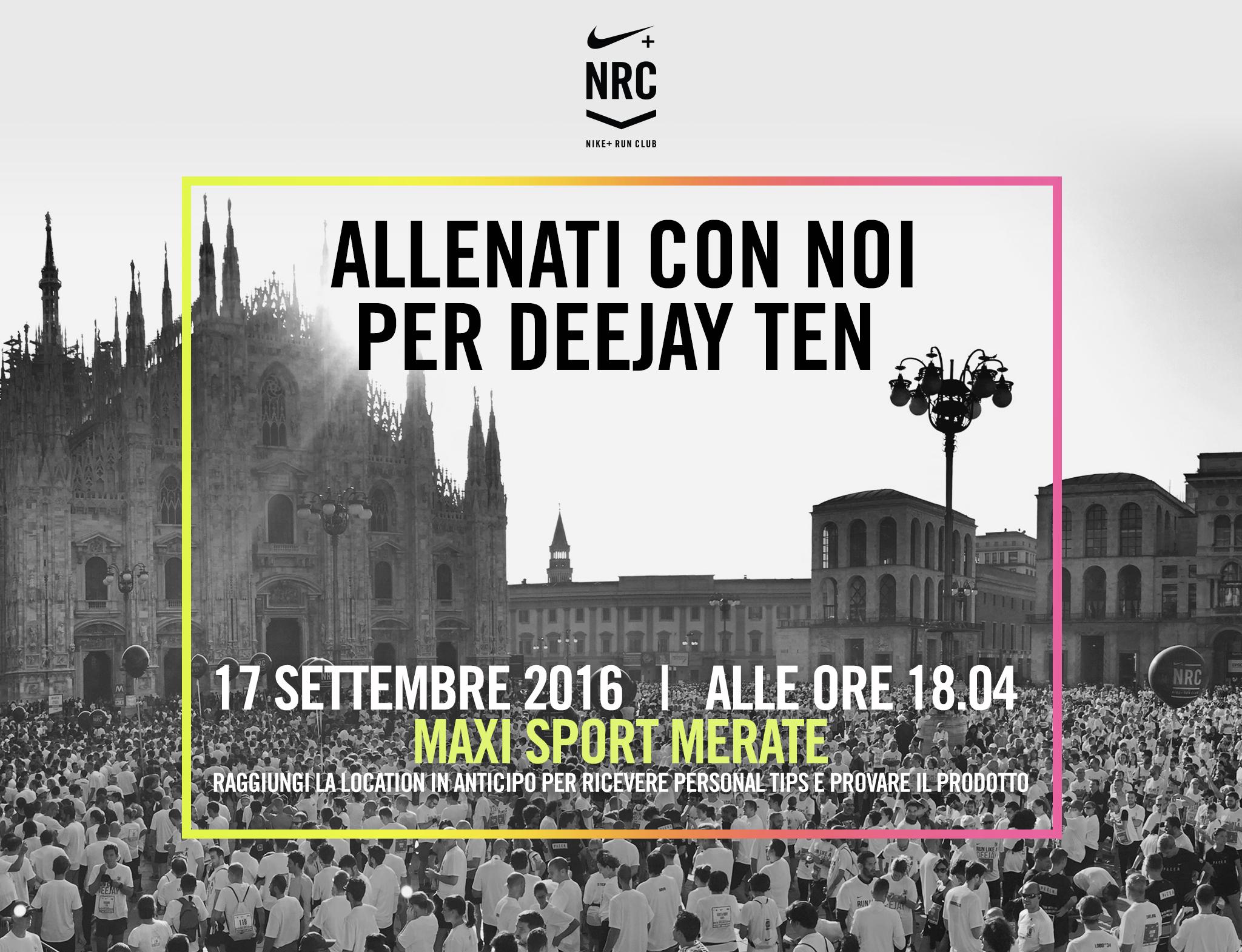 Sabato 17 Settembre ti aspettiamo nel punto vendita di Merate per  l esclusiva Deejay Training Run in collaborazione con Nike! Scopri tutti i  dettagli. da82a2b81b2